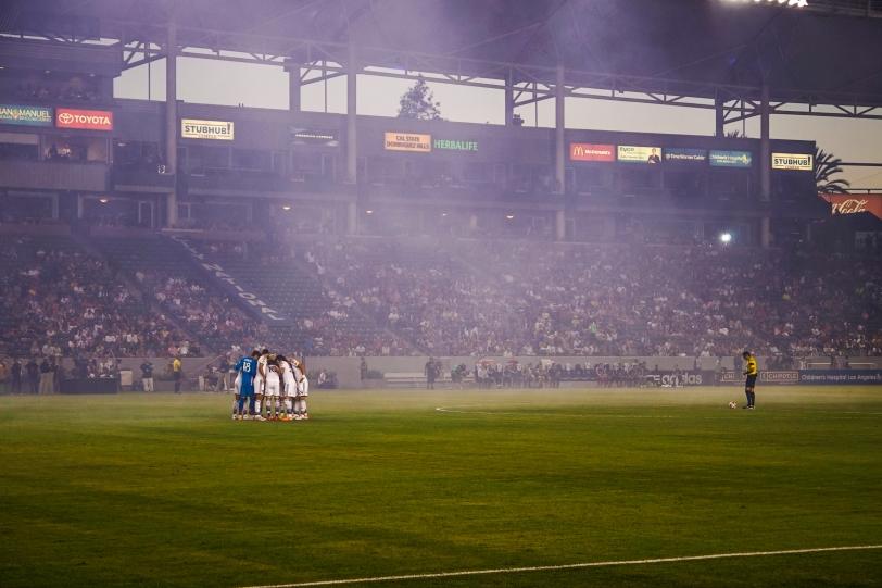 LA Galaxy team huddle